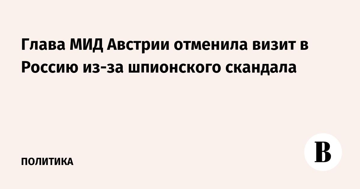 Глава МИД Австрии отменила визит в Россию из-за шпионского скандала