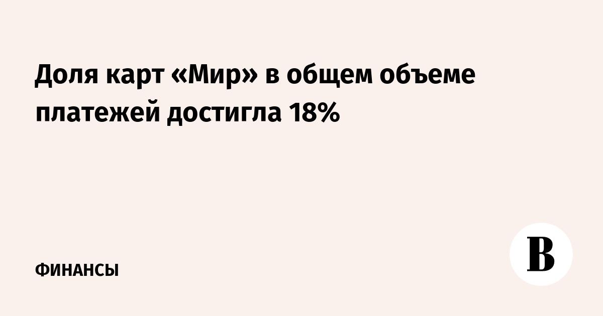 Доля карт «Мир» в общем объеме платежей достигла 18%