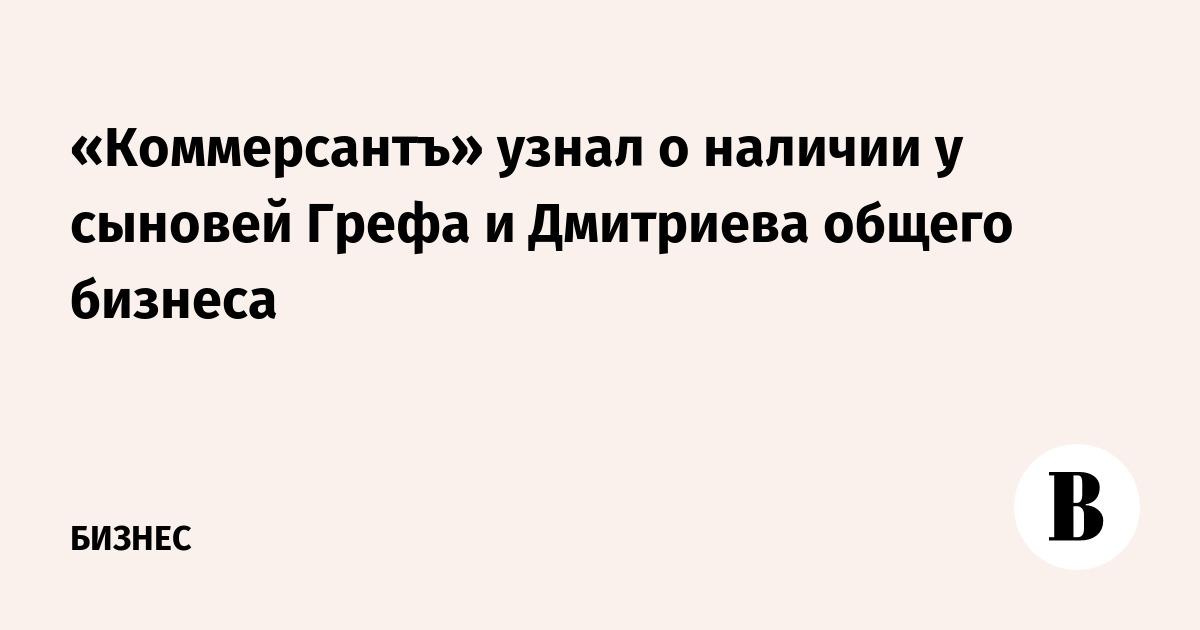 «Коммерсантъ» узнал о наличии у сыновей Грефа и Дмитриева общего бизнеса