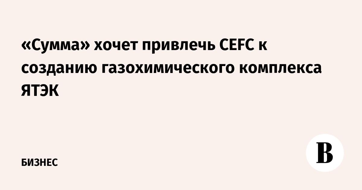 «Сумма» хочет привлечь CEFC к созданию газохимического комплекса ЯТЭК