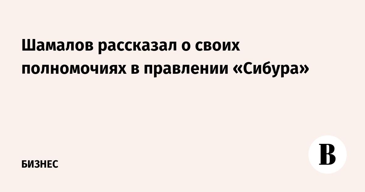 Шамалов рассказал о своих полномочиях в правлении «Сибура»