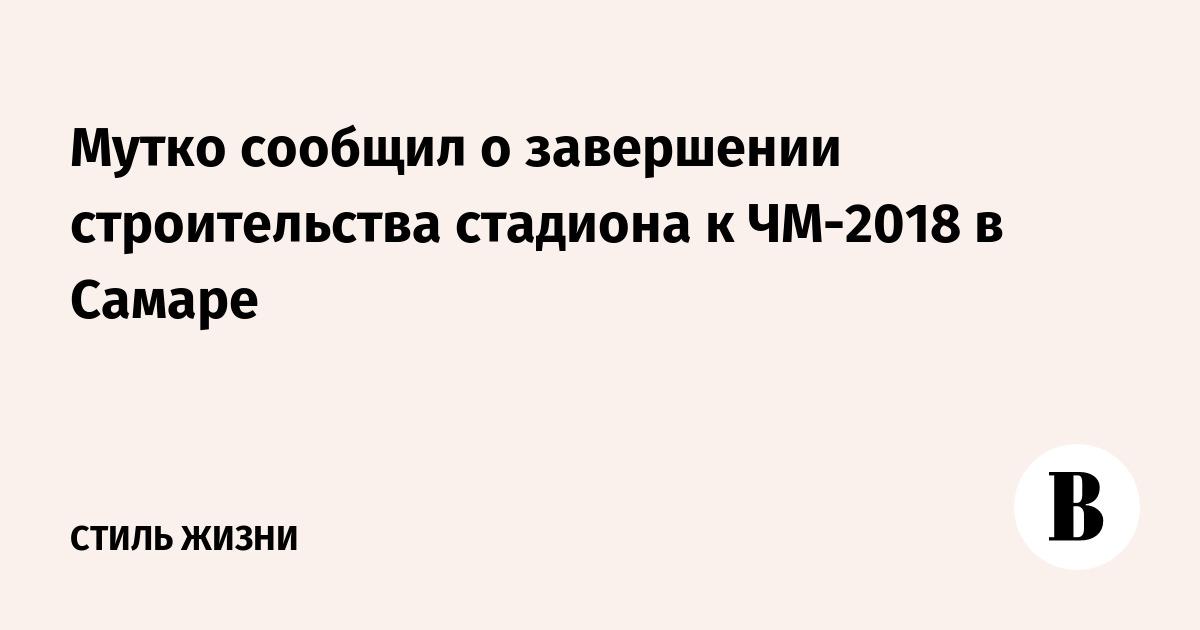 Мутко сообщил о завершении строительства стадиона к ЧМ-2018 в Самаре