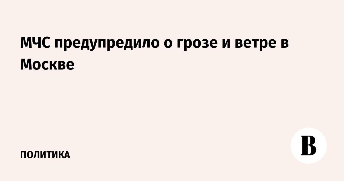 МЧС предупредило о грозе и ветре в Москве