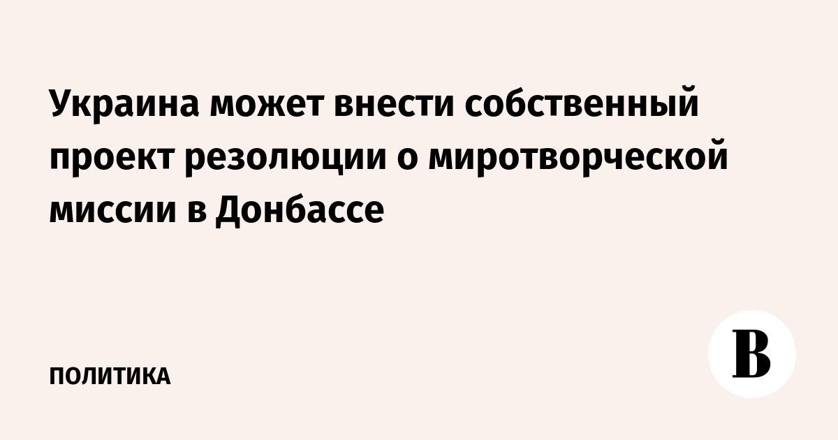 Украина может внести собственный проект резолюции о миротворческой миссии в Донбассе