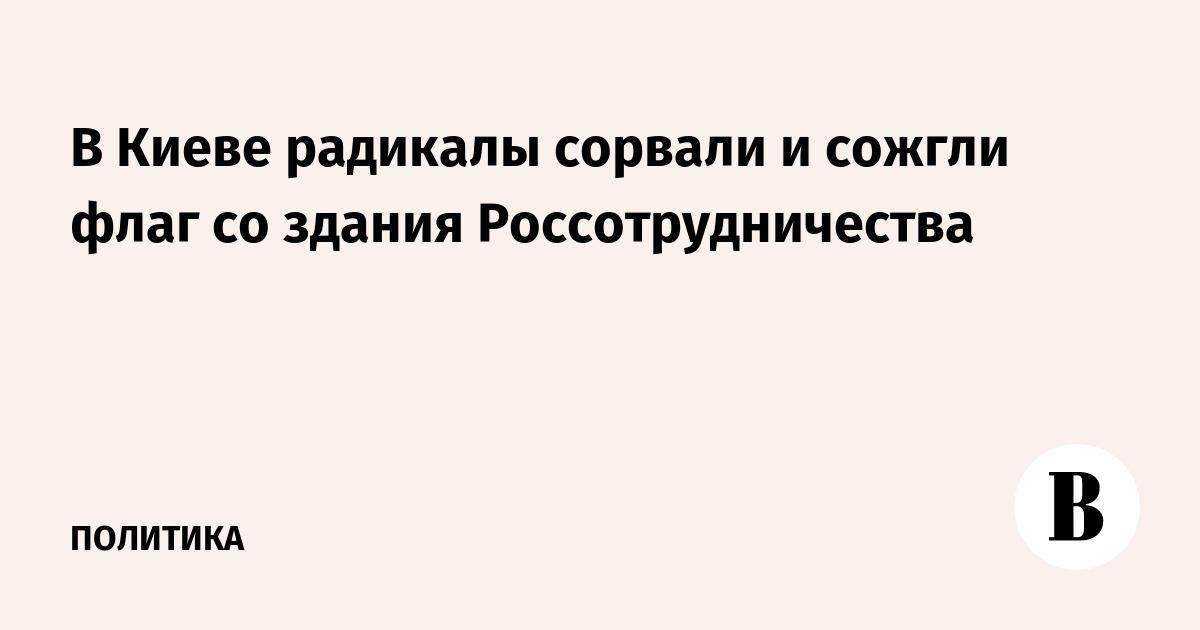 В Киеве радикалы сорвали и сожгли флаг со здания Россотрудничества