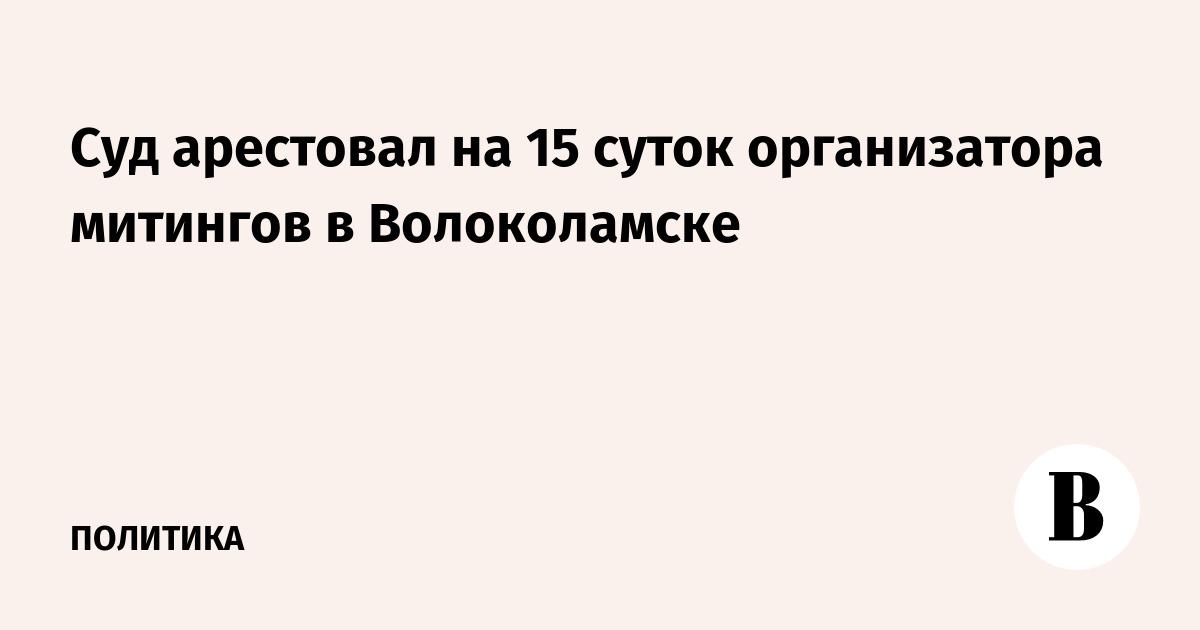 Суд арестовал на 15 суток организатора митингов в Волоколамске