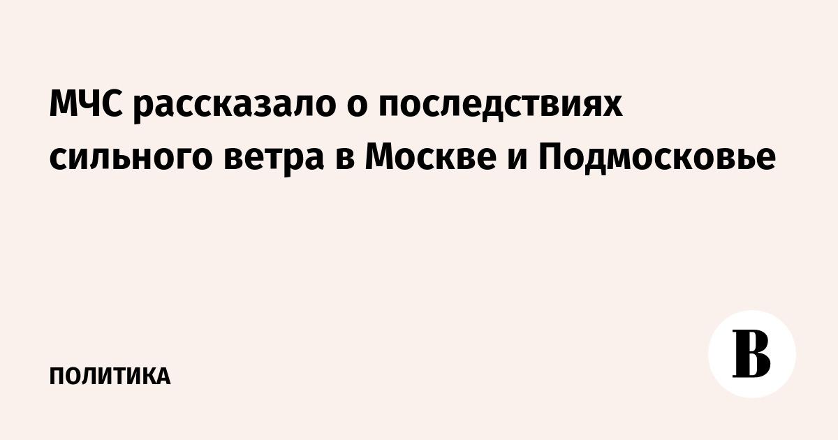 МЧС рассказало о последствиях сильного ветра в Москве и Подмосковье