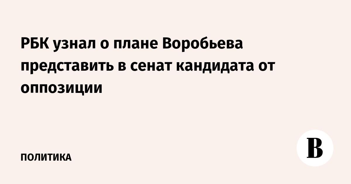 РБК узнал о плане Воробьева представить в сенат кандидата от оппозиции